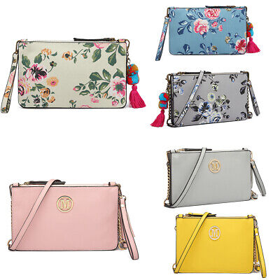 Ladies Small Pompom/Tassel Pendant Clutch Handbag Girls CrossBody Shoulder Bag