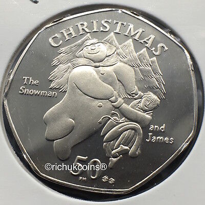 2003 IOM Xmas Diamond Finish 50p Coin with BB die letters
