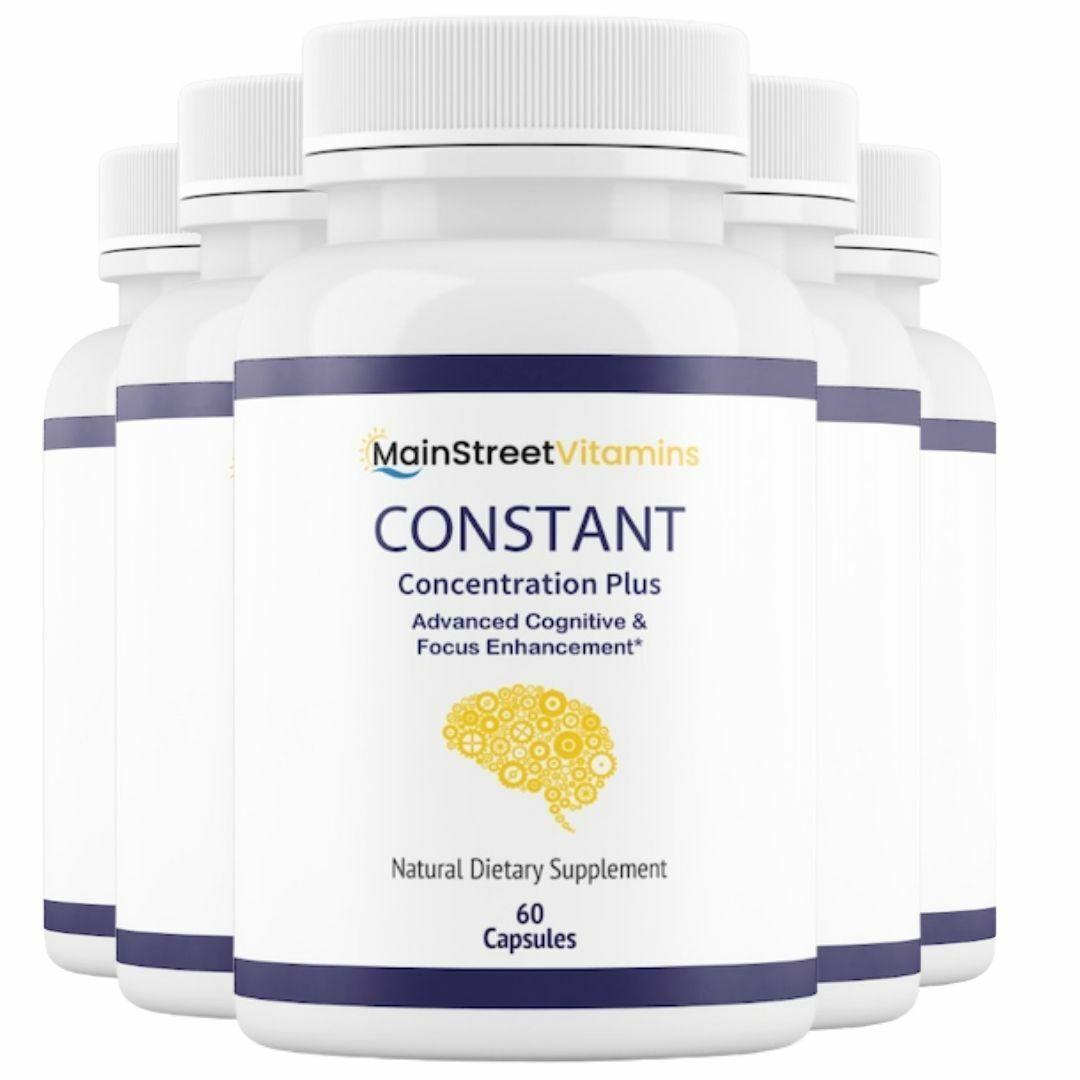 5 Bottles Constant Concentration Plus, Advanced IQ  60 Capsules x 5