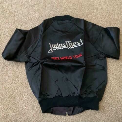 1982 Judas Priest Vengeance Tour Black Satin Tour Jacket Size S & M NEW NOS