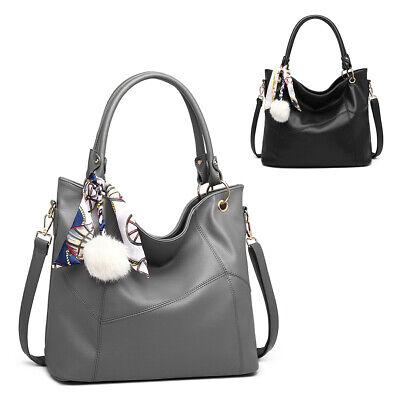 Women HOBO Handbag Ladies designer Faux Leather Look Pompom Scarf Shoulder Bag