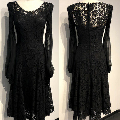 NWT DOLCE&GABBANA Sheer Tulle Sleeves Flare Lace Dress 40/4 $6999