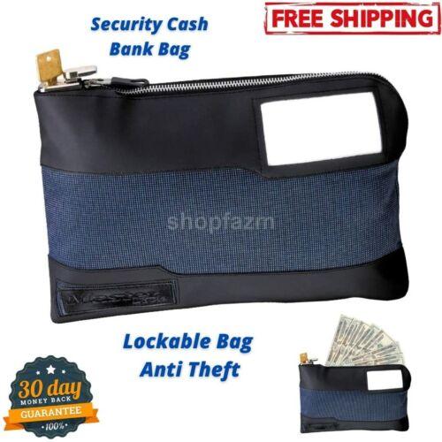 Security Locking Money Cash Bank Bag Anti Theft Lockable Purse Lock Deposit Blue