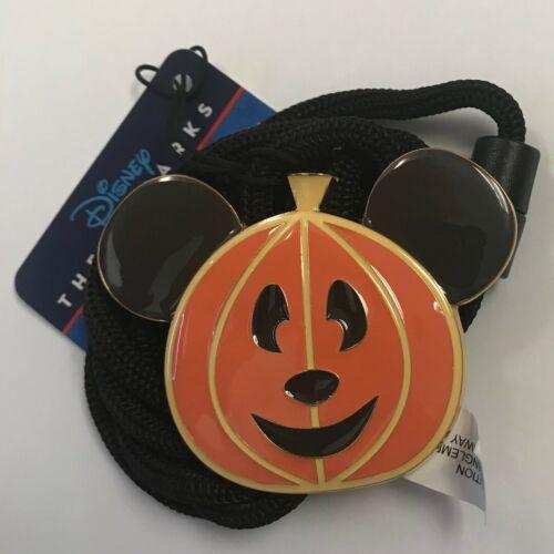 Disneyland Cast 2021 Mickey Head Halloween Pumpkin Disney Bolo ID Lanyard