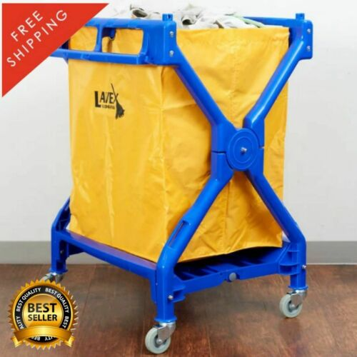 10 Bushel Commercial Rolling Laundry Linen Hotel Trash Housekeeping Cart Kitchen