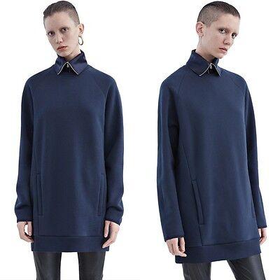 ACNE STUDIOS Fiera Sweatshirt Dress in soft fleece in navy new $300 xxs