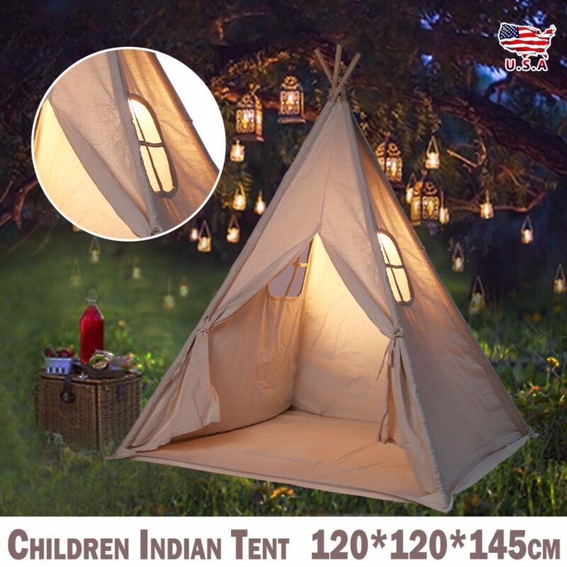 US Canvas Children Indian Tent Teepee Play Sleeping Indoor O