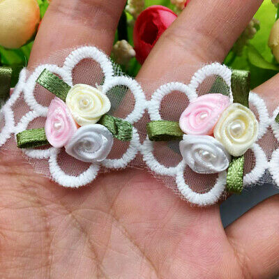 5pcs Rose Organza Flower Pearl Lace Trim Applique Craft Ribbon Sewing Wedding