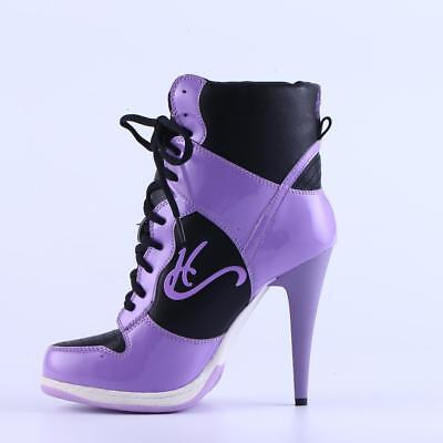 HC High Heel Sneakers, Beautiful quality Awesome comfort, Purple HT, CA-005 Comfortable High Heel Shoes