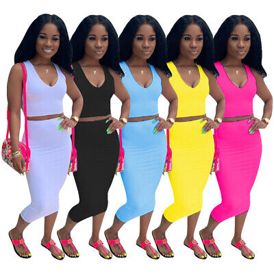 Neck Dress Set (Women sleeveless v neck solid color casual club party dress skirts set)