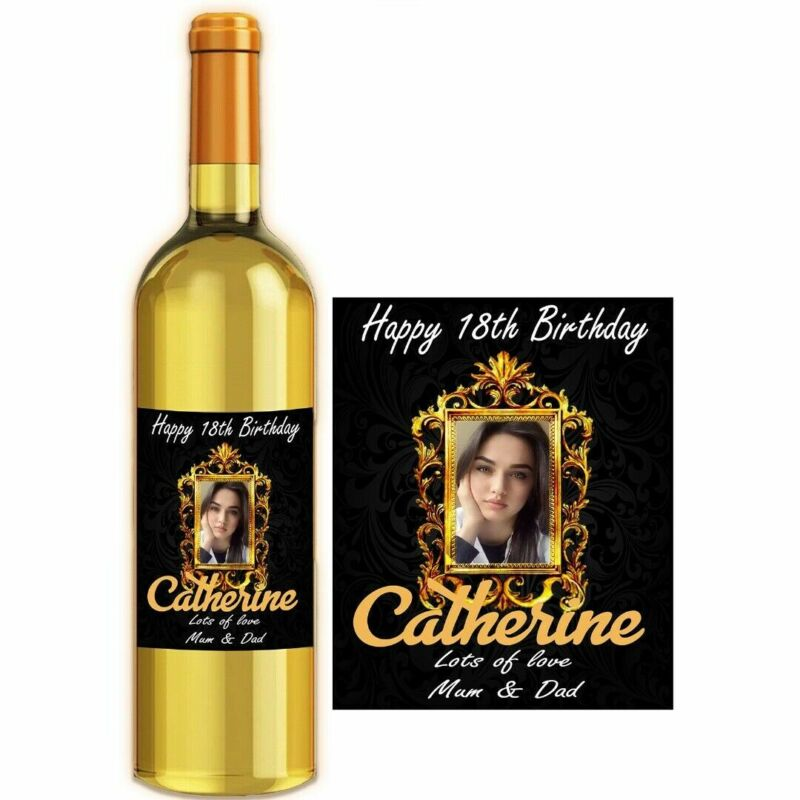 Personalised Photo Wine Bottle Label For Love Anniversary Birthday BL004