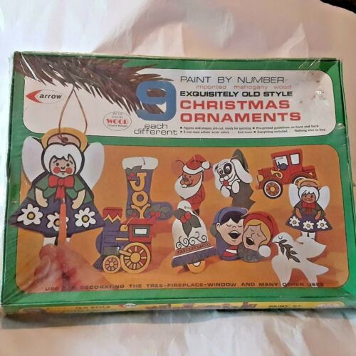 NOS 1972 Arrow Paint by Numbers Mahogany Christmas Ornaments