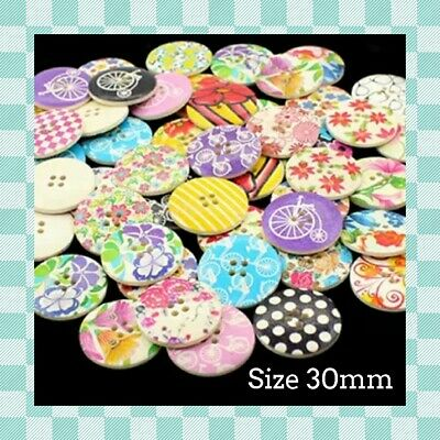 25 VINTAGE Style Buttons - 30mm - Multi Design Scrapbooking - Crafting - Sewing