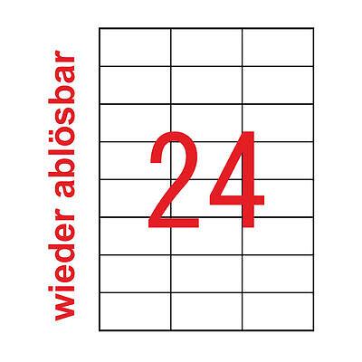 1200 Etiketten 70x37 mm Wieder Ablösbar Kores Non Permanent 50 Blatt A4 Weiss