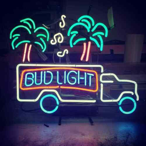 Bud Light Truck Palm Tree Beer Bar Sign Real Glass Handmade