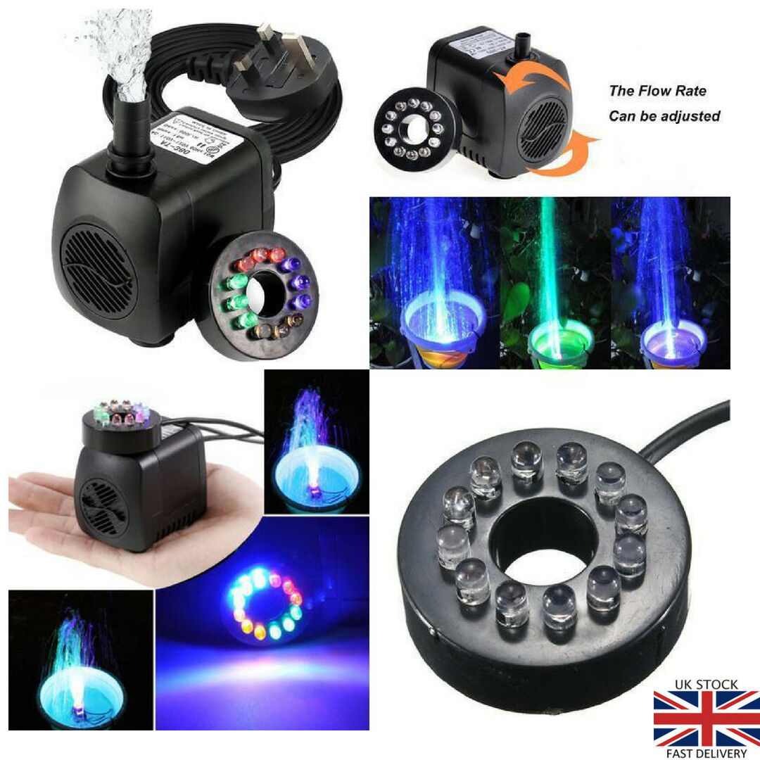 Submersible Pump Electric Fountain Water Pump 12 LED Light for Aquarium or Pond