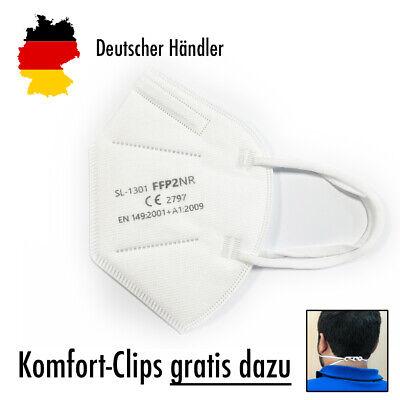 5x Hochwertige FFP2 Maske Mundschutz 5-lagig weiß ✅ mit Nackenhalter-Clips