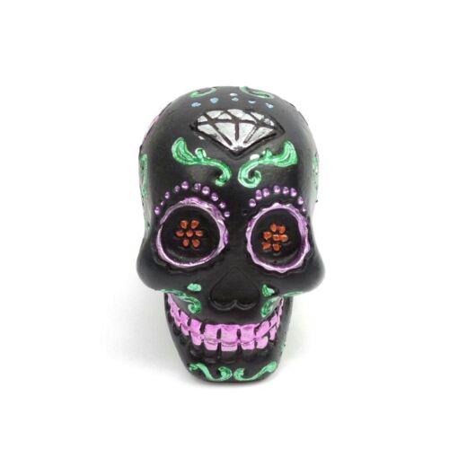 "Black Sugar Skull Day of the Dead Small Figurine 2"" Painted Diamond Flowers"