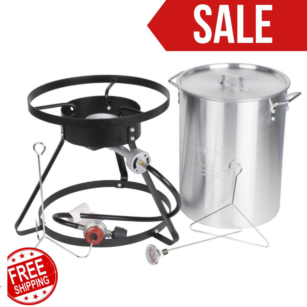 30 Qt Turkey Fryer Kit With Aluminum Stock Pot And Accessori