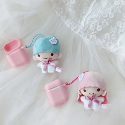 Cute little twin star Earphone Rubber Case Cover for apple Airpods Charging Case ()