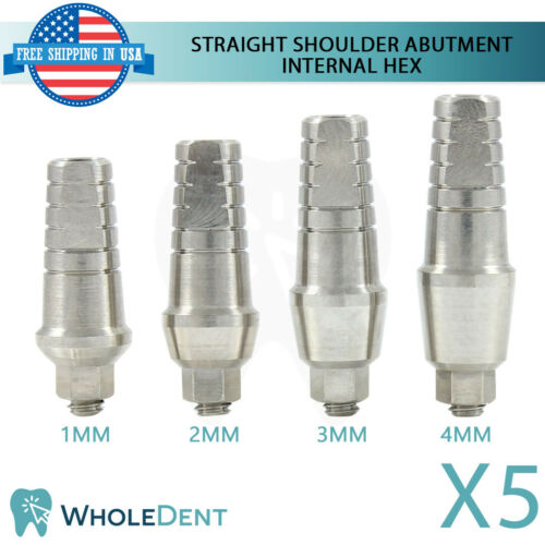 5x Standard Straight Shoulder Abutment Titanium Dental Implant Internal Hex