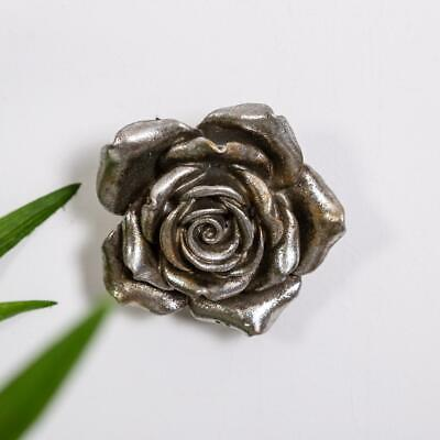 Silver Rose Wall Art Hanging Freestanding Metal Shabby Vintage Chic Decoration
