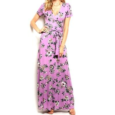 Womens Lavender Watercolor Floral Faux Wrap Casual Maxi Dress S L - Casual Lavender Dress