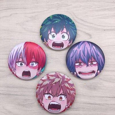 Hot Anime Boku no Hero Academia badge badges pin buttons 4pcs/set cosplay 5.8cm