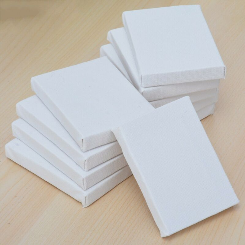10Pcs White Blank Mini Small Stretched Artist Canvas Art Boa