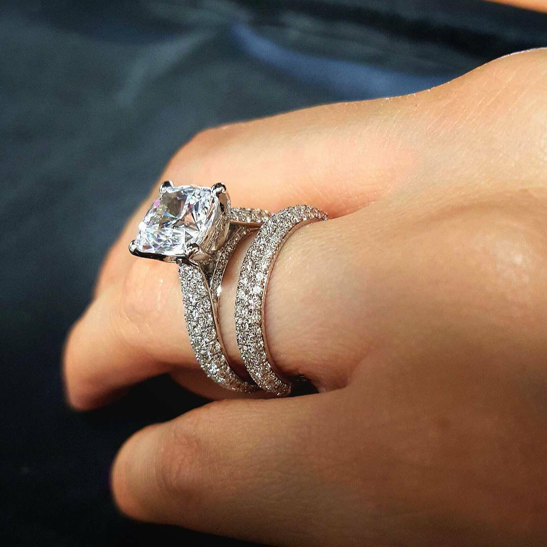 2.10Ct Cushion Cut Diamond Engagement Ring Micro Pave Solitaire G,VS2 GIA 18KWG  1