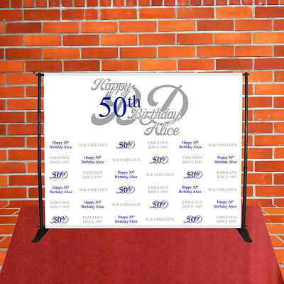 Happy 50th Birthday Backdrop 8' FT Step and Repeat Red Carpet Banner-Free Design