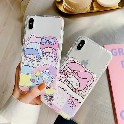 Adorable Little Twin Star My Melody Soft Clear Case Cover for iPhone X XS 6 7 XR