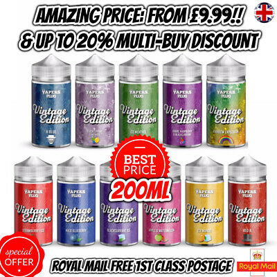 Vintage Edition E liquid Eliquid Ecig Vape Juice 200ml 0mg 70/30 NEW FLAVOURS