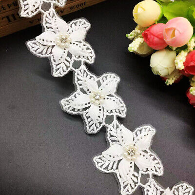 1yd Diamond Flower Pearl Lace Edge Trim Ribbon Wedding Applique Sewing DIY Craft Diamond Trim