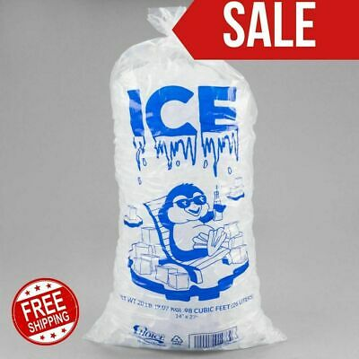 500case 20 Lb Clear Plastic Ice Bags Store Machine Commercial Barcode 20lb Blue