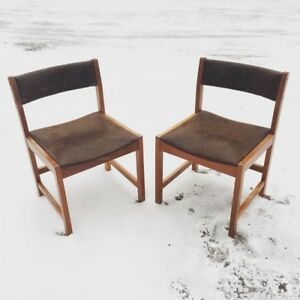 Mid century modern Solid wood and leather chairs