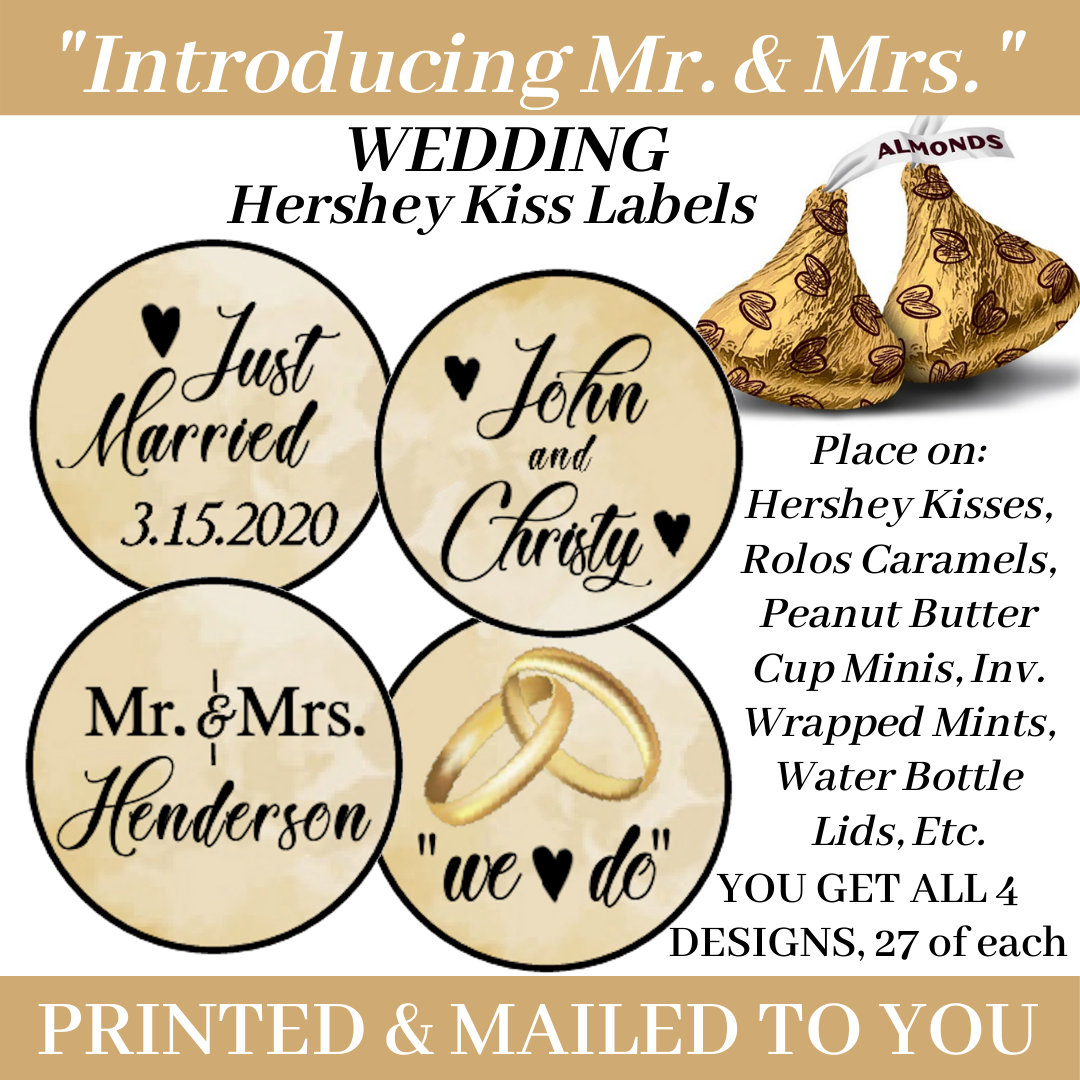 108 WEDDING MR AND MRS HERSHEY KISS STICKERS Party Favors La