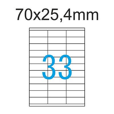 Etiketten 70x25,4 mm 825 Stück 25 Blatt A4 Aufkleber 70x25 Luma LCI