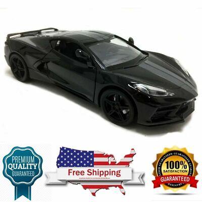 model car 2020 Chevrolet Corvette C8 Stingray Black with Gray Stripes 1/24 scale