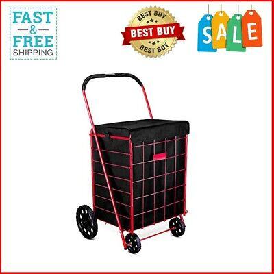 New - Folding Shopping Cart Liner Rolling Utility Trolley Wheels Basket Hood Bag