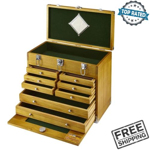 8 drawer hardwood tool chest storage box