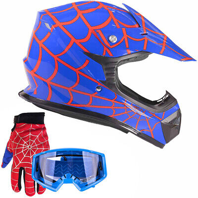 Youth Motocross Blue Spiderman Helmet Goggles Gloves DOT Kids Offroad ATV UTV MX