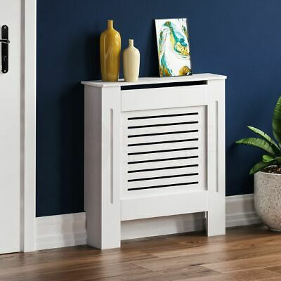 Modern Slatted Grill Slats Radiator Cover White Painted MDF Cabinet Small Large