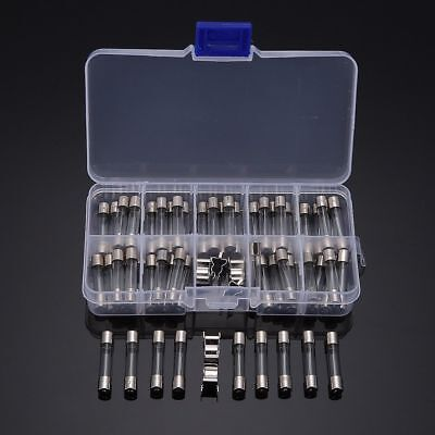 60pcs 6x30mm Quick Fast Blow Glass Tube Fuse Assorted Kit W 6pc Fuse Holder Set