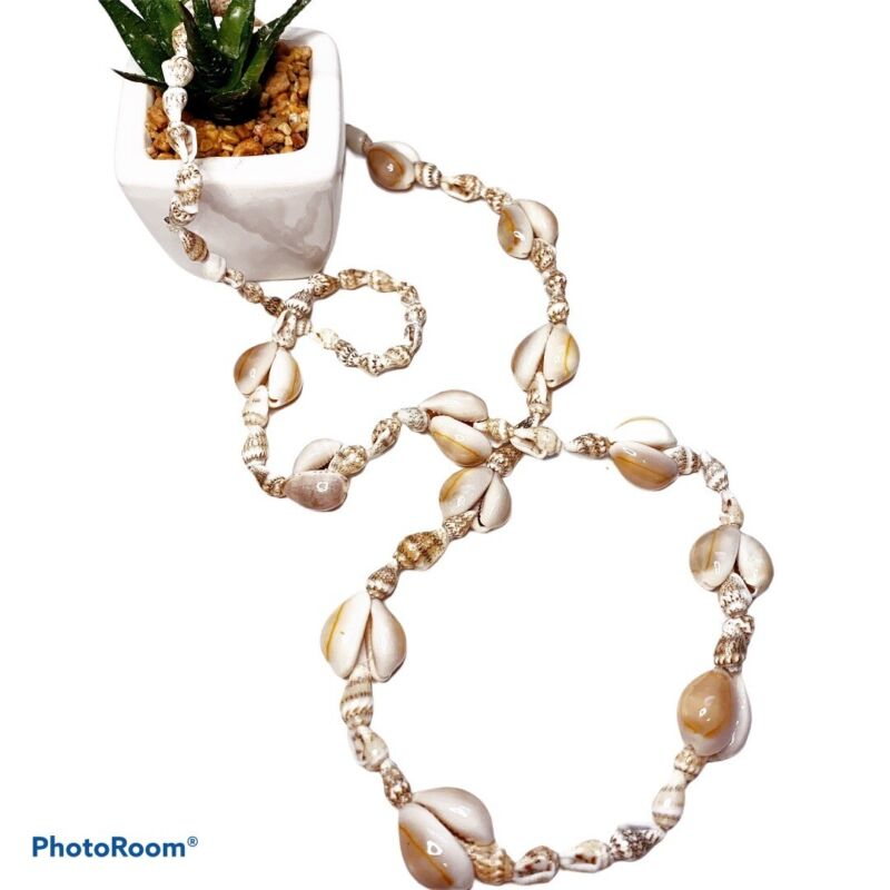 """Vintage 36"""" Handmade Cowrie Shell Long Necklace Large And Small Shells"""