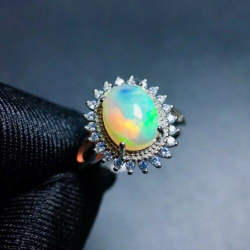 Fabulous Natural Change Color Oval Hot Rainbow Fire Opal 925Sterling Silver Ring