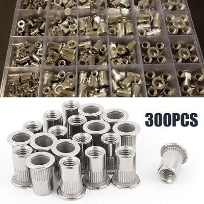 300pcs Aluminum Rivet Nut Rivnut Nutsert Kit M3-m8 150pcs Metric 150pcs Sae C