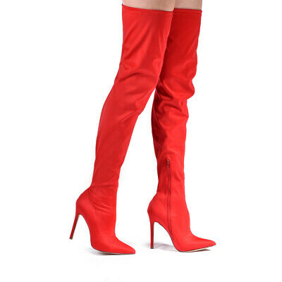 NEW Liliana Gisele-50A Thigh High Pointy Stretchy Drawstring Stiletto Boots](Red Thigh High Boots)
