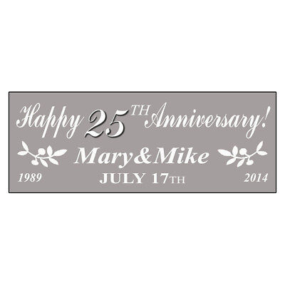 Happy 25Th Anniversary! Customize Names Silver DECAL STICKER Retail Store - Happy Anniversary Signs