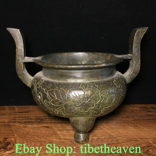 "7.6"" Marked Old China Bronze Dynasty Palace Flower 2 Ear Incense Burners Censer"
